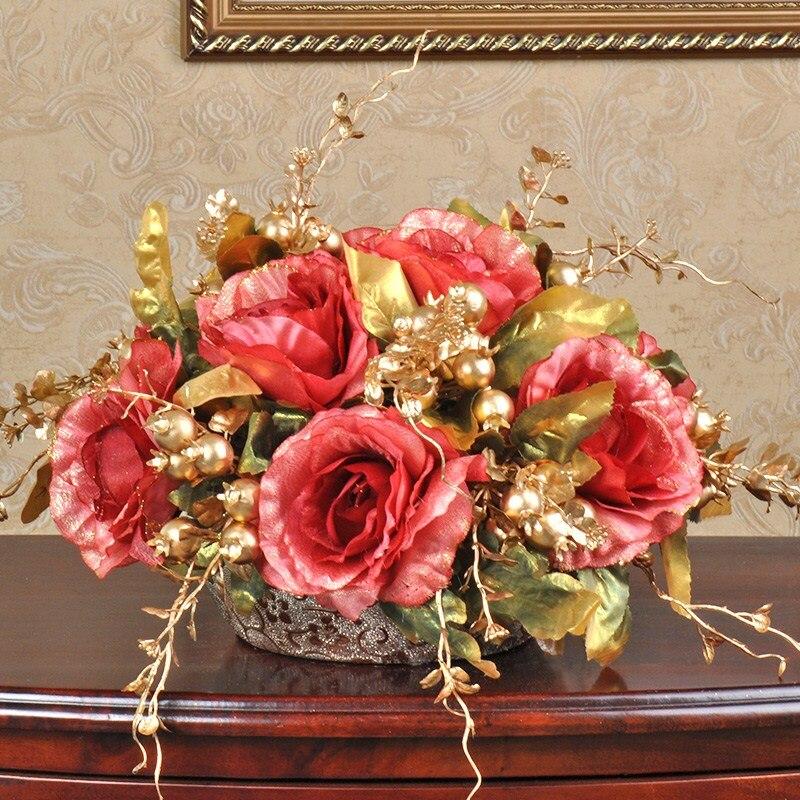 1 Set Artificial Flower Rose Bouquet European Ball Round Golden Ceramic Vase Wedding Home Shop Decoration Fake Flowers 6Color