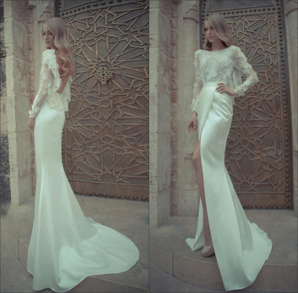 Yaki ravid desgner sheath bridal gown bateau neck sheath for Lace sleeve backless wedding dress