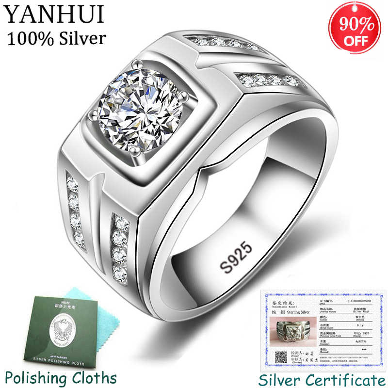 Sent Certificate! Men Gift Engagement Ring Original 925 Solid Silver Rings 8MM Cubic Zirconia Wedding Big Rings for Men CRJZ004