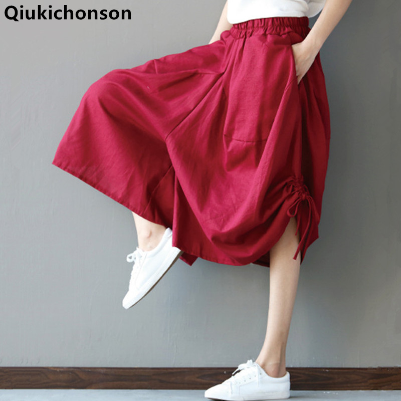 Qiukichonson Linen Pants Women 2019 New Literary Plus Size Elastic Waist Palazzo Wide Leg Pants Ladies Culotte Casual Trousers