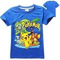 Primavera 2016 de Los Niños de Dibujos Animados Pikachu Pokemon Ir Ropa Boy Algodón Del O-cuello Camisetas Ropa Niños Manga Corta Camiseta y Tops