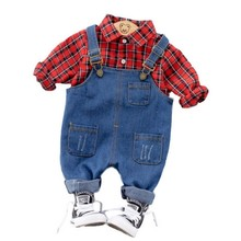 Spring Kids Baby Boy Girl Clothes Plaid Long Sleeve Shirt + Jean Bib Pants Set Casual Fashion Children Baby Baby Boy Girl Suit купить недорого в Москве