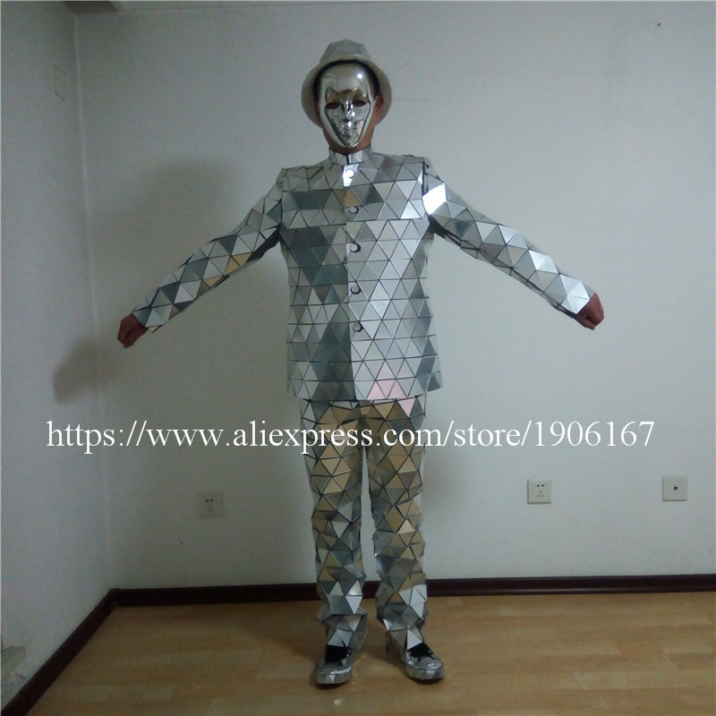 Catwalk Shows Men Silver Color Stage Ballrooom Costume Mirror Man Clothing Party Christmas Performance DJ Singer Clothes Suit08