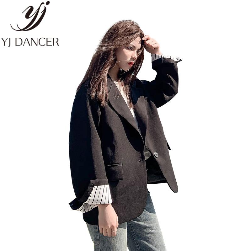 Повседневный шикарный маленький костюм женский пиджак 2019 Весна новая Корейская версия с длинным рукавом пальто свободного Ретро черный ко...