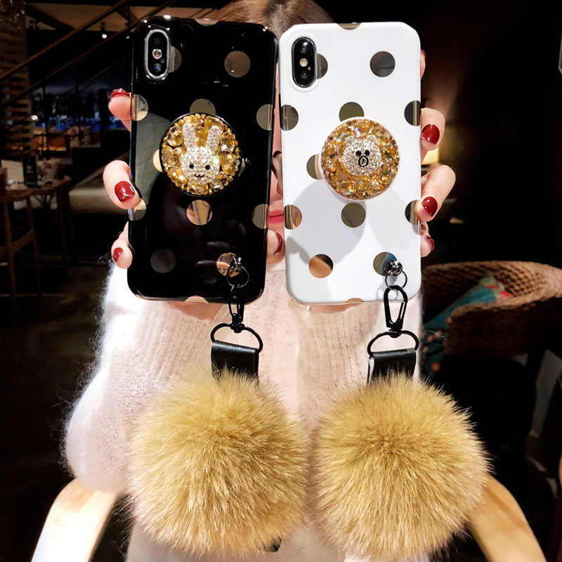 Плюшевая повязка для волос мяч ручной ремешок волновой точки телефон Чехол 7 p Женский Для iPhone XS Max personity 8 Plus короткий канат 6 S подушка безопасности кронштейн