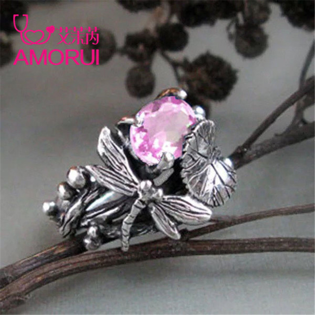 AMORUI New Fashion Silver Black Lotus Leaf Dragonfly Party Ring 6/7/8/9/10 Size Copper Rings for Women Anniversary Gifts Jewelry 4