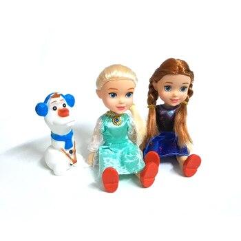 3 개/대 공주 elsa anna olaf 아기 인형 어린이 만화 장난감 소녀 인형 brinquedos meninas 눈 여왕 선물 상자