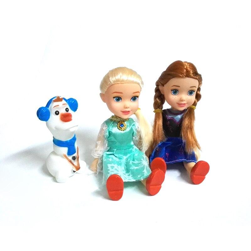 3 pçs/set Princesa Elsa Anna Olaf Bonecas Crianças Brinquedos Dos Desenhos Animados Para Crianças caixa de presente Menina Boneca Brinquedos Meninas A Rainha Da Neve
