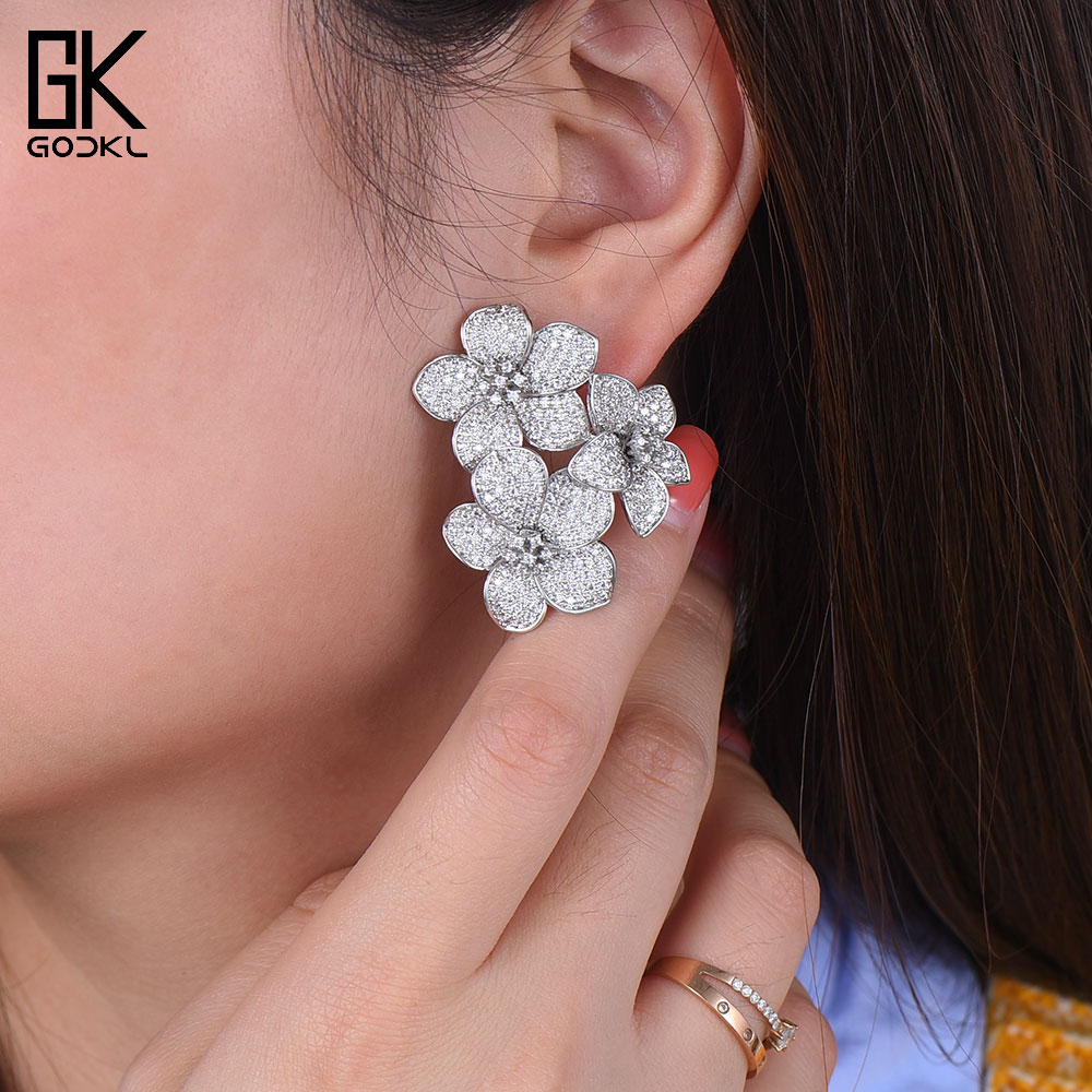 GODKI NEW Trendy Luxury Flowers Cluster Stud Earrings For Women Wedding Cubic Zircon Crystal African Dubai Silver Bridal EarringGODKI NEW Trendy Luxury Flowers Cluster Stud Earrings For Women Wedding Cubic Zircon Crystal African Dubai Silver Bridal Earring