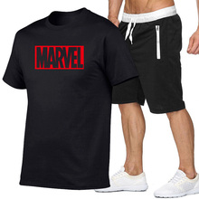 цены New Summer men/women marvel T Shirts Fashion MARVEL Man Short sleeve Tshirt+Shorts Moscow Russia Mens Cotton Casual Tees suit