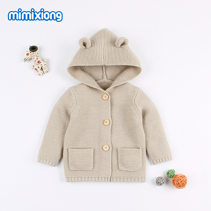 mimixiong Baby Sweater Cardigan Boy Hooded Jackets Cartoon Long Sleeve Coats
