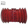 Dazzling Ruby Red Diamond Women Evening Crystal Clutch Bag Metal Clutches Handbag Purse Ladies Wedding Party Prom Shoulder Bag