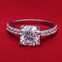 Brand New Original 2 Carat SONA Synthetic Diamond Fashion Ring 925 Sterling Silver Women Ring Jewelry
