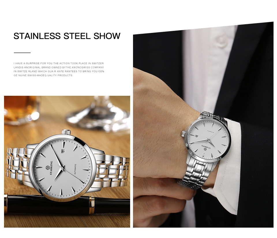 HTB1TU5LcVkoBKNjSZFEq6zrEVXa6 STARKING Automatic Watches Men Stainless Steel Business Wristwatch Leather Fashion 50M Waterproof Male Clock Relogio Masculino