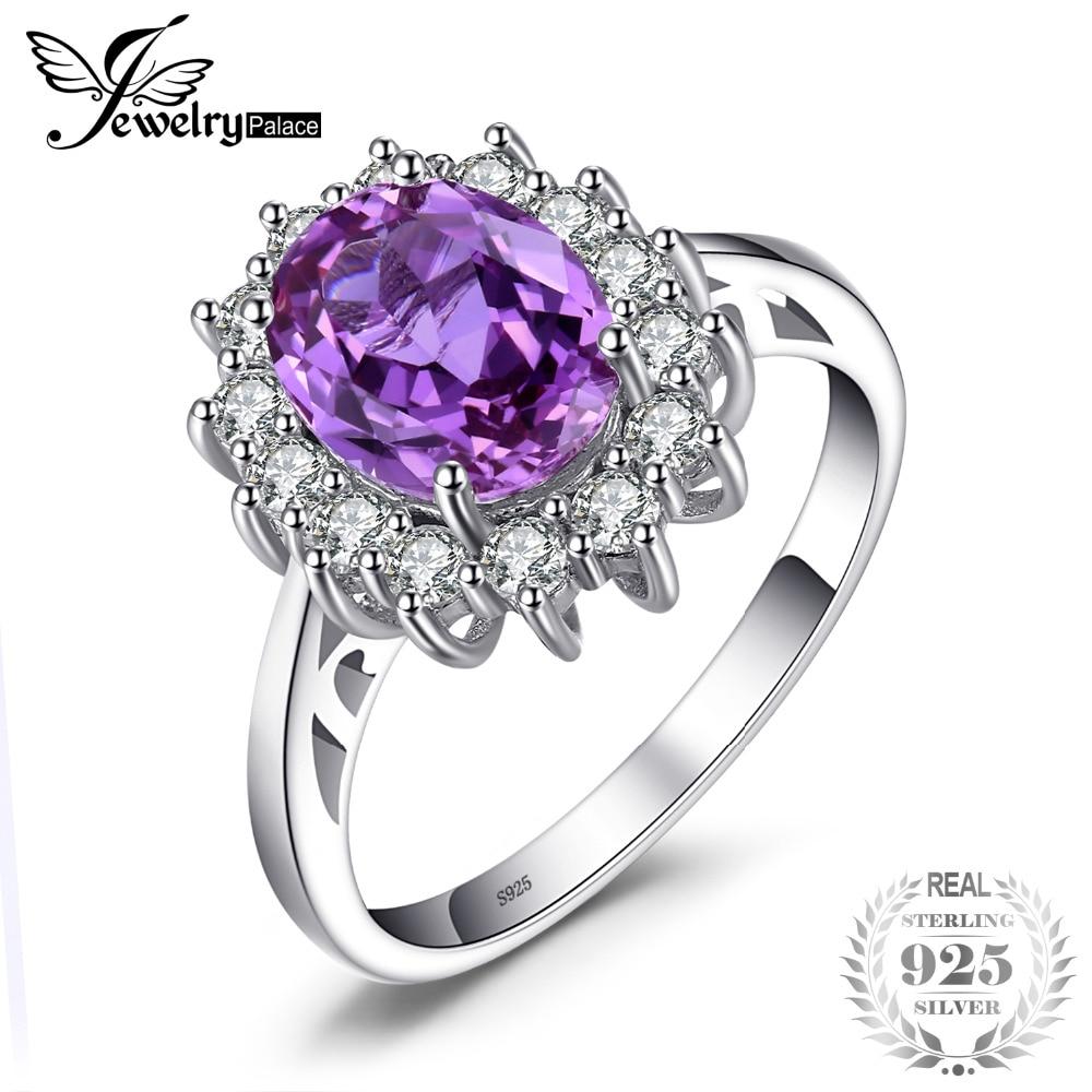 ज्वैलरीपलेस 2.4ct ओवल एलेक्जेंडराइट नीलम की अंगूठी वास्तविक 925 स्टर्लिंग चांदी के गहने महिलाओं के लिए राजकुमारी डायना सगाई के छल्ले