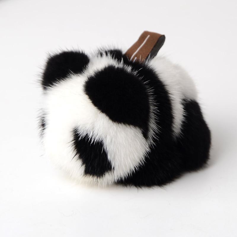 Genuine Fashion Soft Real Mink Fur Key Chain Keychain Panda Ring Gift Bag Pendant Car Accessories Key Chains Stuffed Toy рюкзак thule stir 28l mens dark shadow 3203547