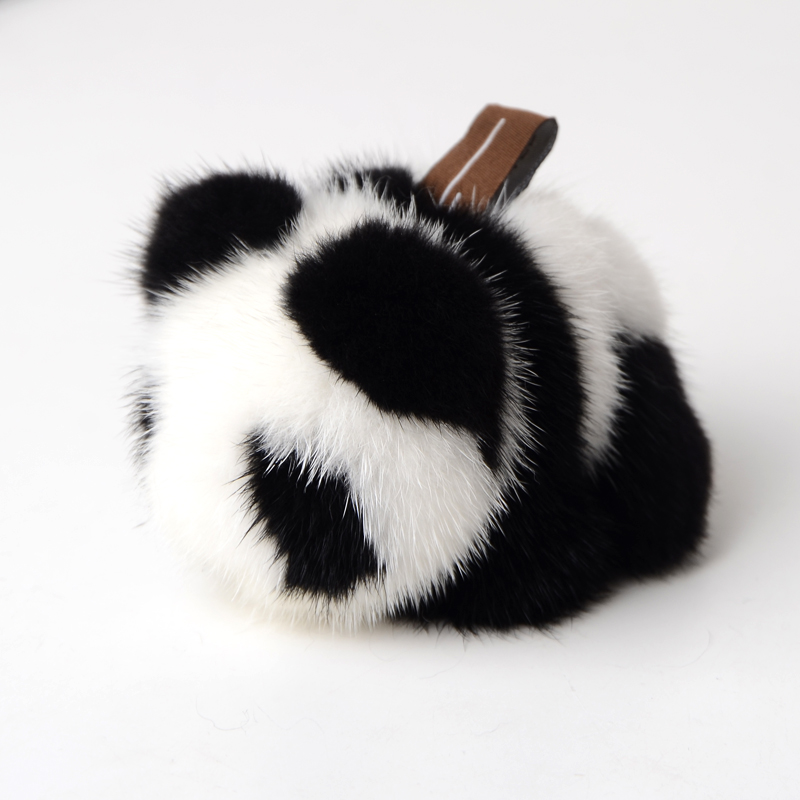 Véritable mode doux réel vison fourrure porte-clés porte-clés Panda anneau cadeau sac pendentif voiture accessoires porte-clés en peluche jouet