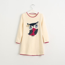Female child Autumn sweater dress girl's Long sleeved owl knitted dress