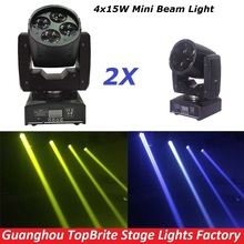 2Pcs/Lot CREE 60W Led Moving Head Spot Effect Light 4x15W Super Beam Wash Mini Lighting For Stage DJ Disco Laser Light Projector