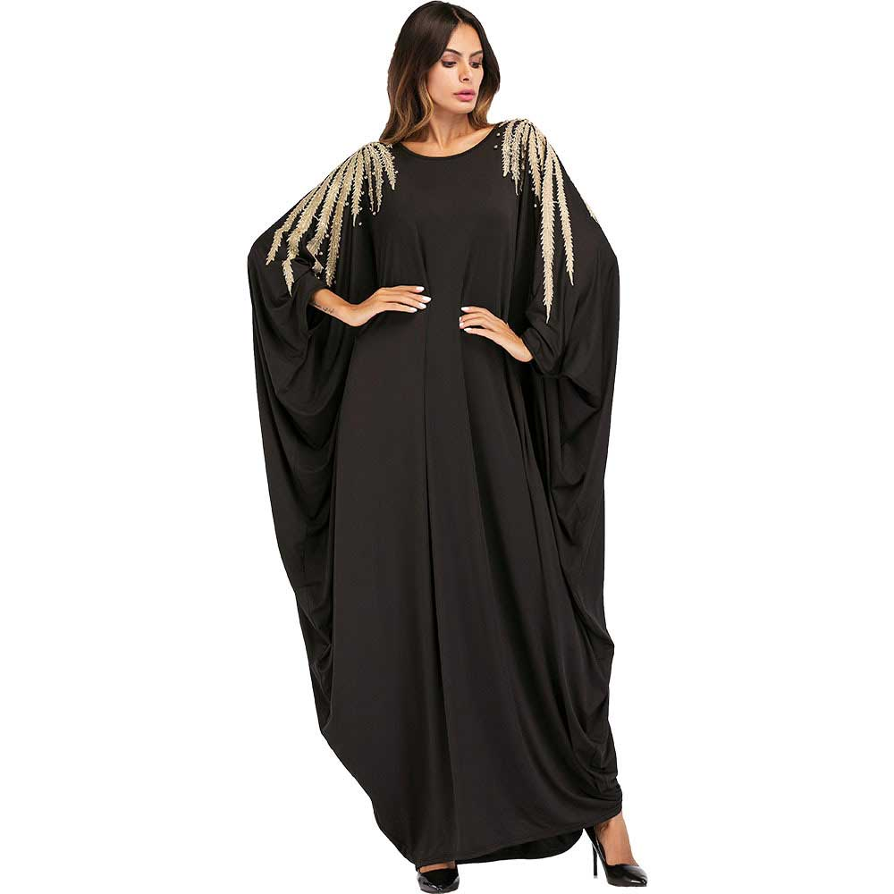 2019 Beadings Decoration Ramadan Abaya Women Fashion O-Neck  Gown Beads Batwing Sleeve Robe Loose Maxi Dress VKDR1451