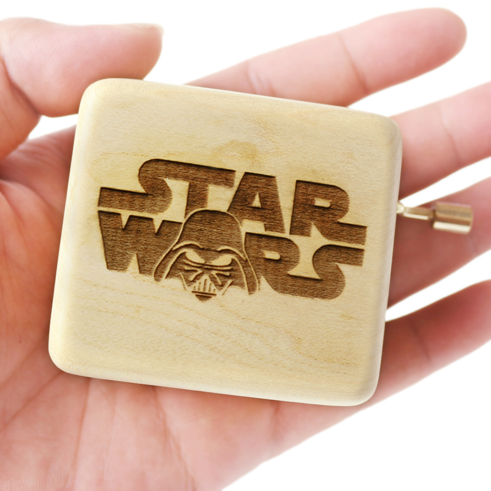 Carved wooden hand crank action Star Wars Music Box Birthday Gift Party Supply free gifts bracelet special souvenir gift