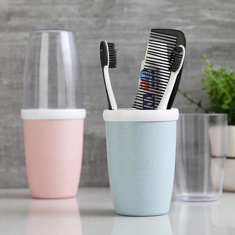 30# New Portable Plastic Cup Toothbrush Holder Travel Trip Drinking Bathroom Tooth Mug Bathroom Accessory Tooth Mug image