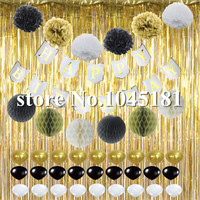 Black White and Gold Decoration Set Happy Birthday Banner Fluffy Paper Pom Pom Ball with Balloons for Baby Boy Girl Theme