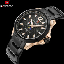 NAVIFORCE Marca de Lujo Original de Acero Inoxidable Militar Deportes Relojes Hombres Reloj de Cuarzo Resistente Al Agua Reloj de Pulsera relogio masculino
