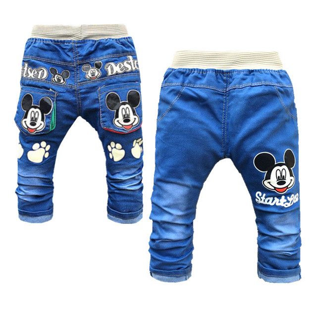 7efaa8851 Clearance Sale Baby Denim Pants Fashon Elastic Waist Baby Boy Jeans Cartoon Infant  Clothing Cute Baby Girl Top Trending Jeans