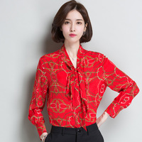 2XL Brand 100% Silk Shirt 2019 Spring Summer Women Blouses New Printed Long Sleeve Bow Silk Blouses Red OL Shirt Silk Tops Women