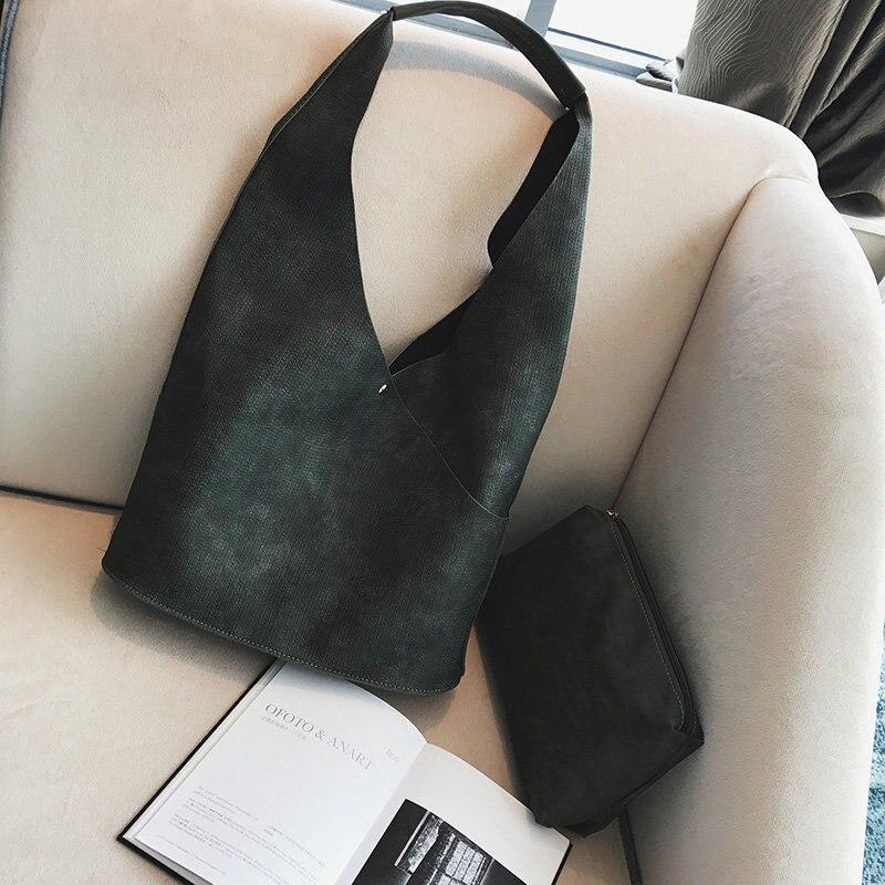 2 Pcs Vintage Women Handbag Soft Ladies PU Leather Woman Patchwork Composite Shoulder Female Bags Sets