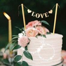 1 Set recién llegado, bandera del amor, decoración de pastel de boda, decoración para fiesta de boda, suministros de decoración de pasteles