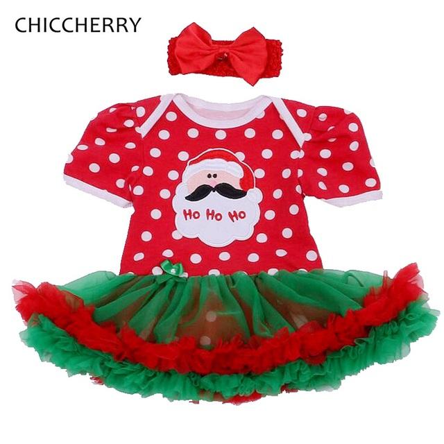 Vestido Del Mameluco Del bebé Recién Nacido de Navidad de Santa Claus rojo Encaje Conjuntos Tutú con Diadema Vestido Infantil Del Algodón Del Niño Bebe Ropa de Niña