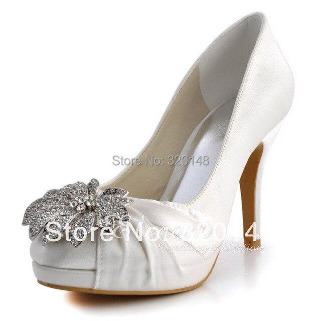 Woman Wedding Shoes EP2058-PF White Closed Toe High Heel Platform  Rhinestones Bridal Satin Bridesmaids Prom Evening Bridal Pumps 07e6b577f643
