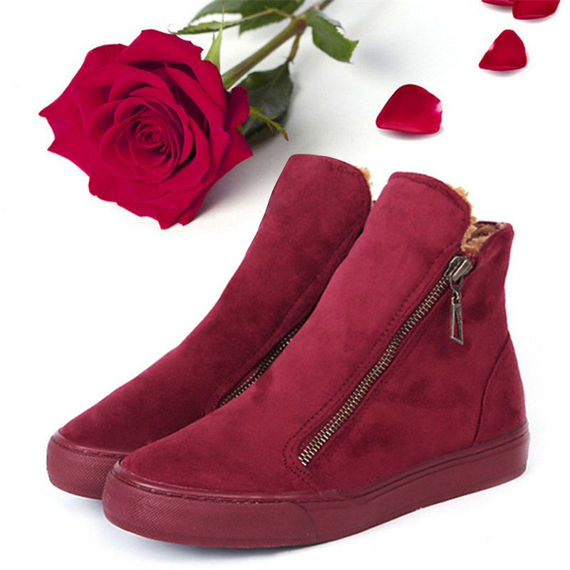 Christmas Winter Ankle Boots Women Martin Boots Ladies Boot Flat Platform Warm Flock Plush Botas Mujer Casual Shoes Botte Femme spring autumn winter platform high heels ankle boots women short boots ladies shoes botas botte femme plus size 34 40 41 42 43