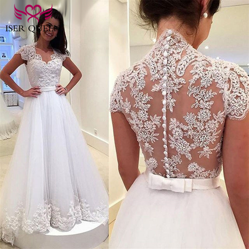 New arrival Crystal Beading Short Sleeve Charming A line Embroidery Wedding Dress 2019 Bow Sash Illusion Back Wedding Dresses