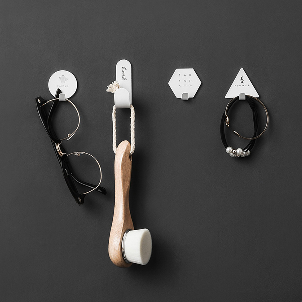 4pcs Nordic Style Key Hook Wall Coat Hanger Simple Geometric Elements Rack Key Holder Self-adhesive Stand For Home Decoration
