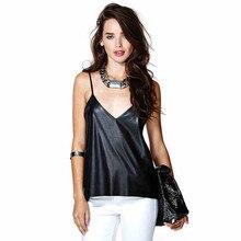 Women Sexy Deep V-neck Shoulder Strap PU leather Lace Patch Back Black Camis Fashion Halter Tops