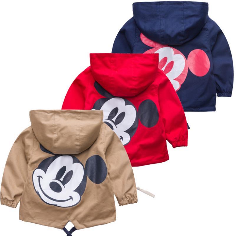 2-6Years Kids Baby Jacket Hooded Coat Boy Girl Toddler Cartoon Print Outerwear Windbreaker Child