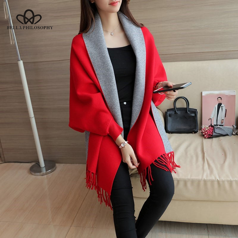 Women's Sweaters Cardigan Tassel Shawl Cape Jacket Long Sleeve Open Stitch Fashion Casual Loose Autumn Winter Coat