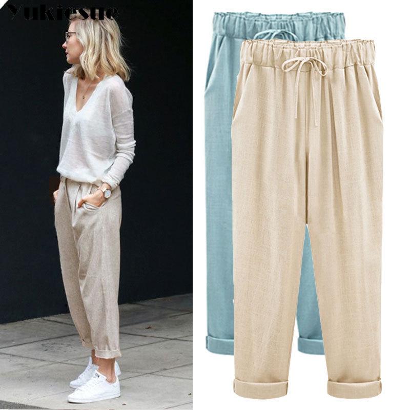 Cotton linen Harem Pants Women 2019 Summer Pants Casual OL Pants Elastic High Waist Slim Work Pants Plus Size 5XL Trousers