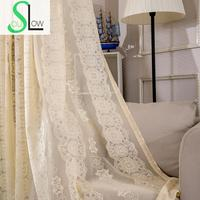 Slow Soul Beige Light Coffee White Jacquard Hollow Lace Curtain Europe Curtains Tulle For Living Room