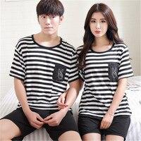 2017 Summer Sleepwear Men Kigurumi Pijama Hombre Couple Knitted Cotton Suit Nightwear Causal Lounge AP417 Drop