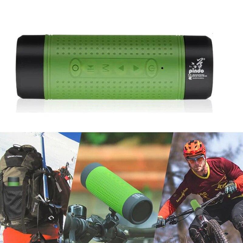 Newest PD-X1 Bicycle Bluetooth V4.0 Speaker Portable FM Radio TF Card Power Bank Bike Cycling Music MP3 LED Flashlight Soundbar