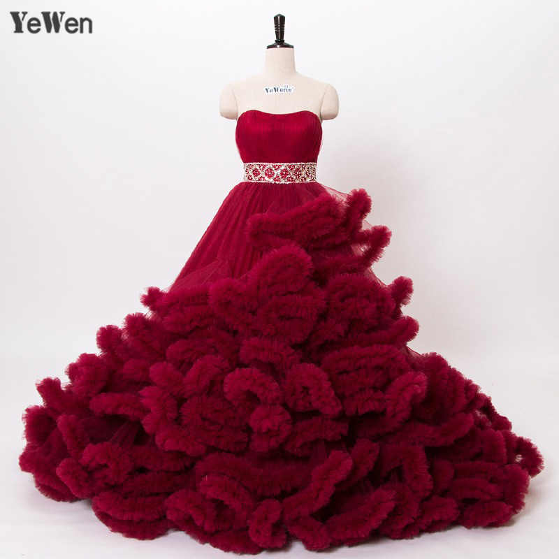 c2cf61742f ... Real Photo Winter Luxury Pregant Top Quality Lace Up Cloud Puffy Wedding  Dress Burgundy Bridal Gowns. RELATED PRODUCTS. YeWen Luxury Princess Red ...