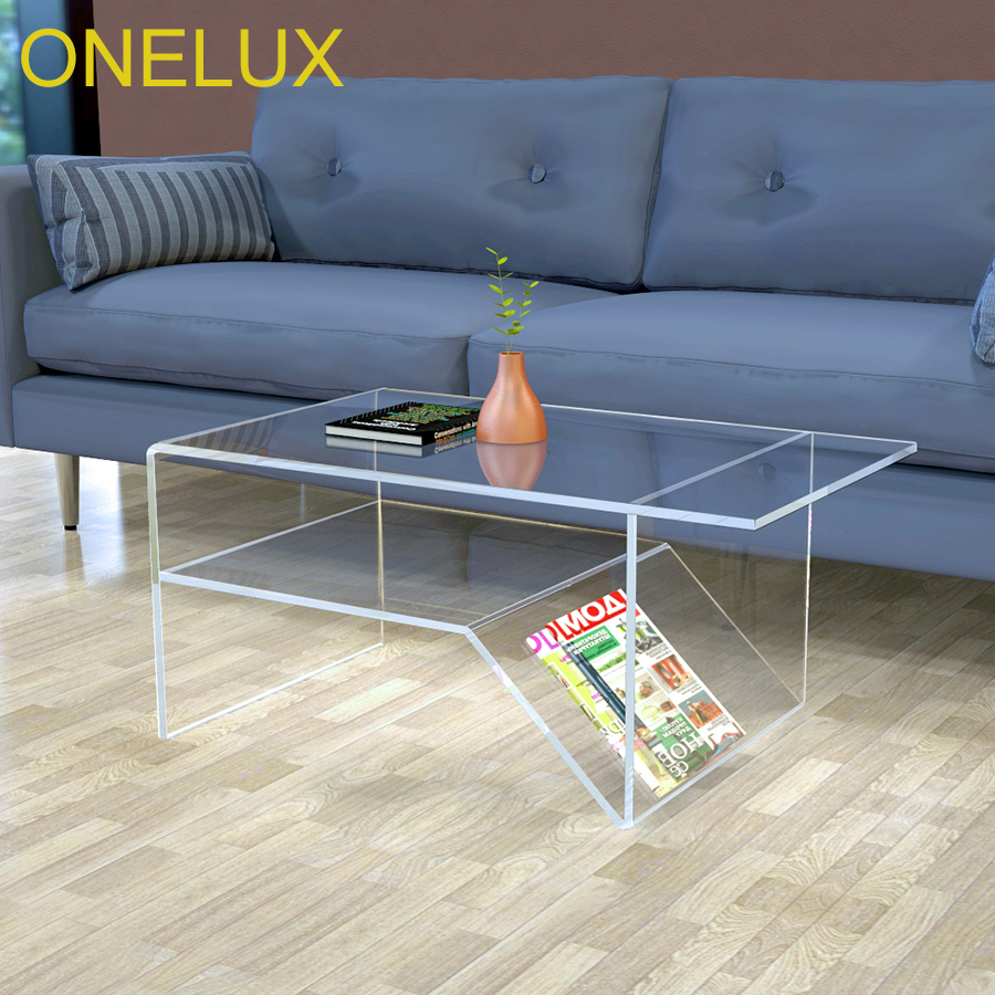 - Waterfall Acrylic Coffee Table With Additional Shelf, Lucite