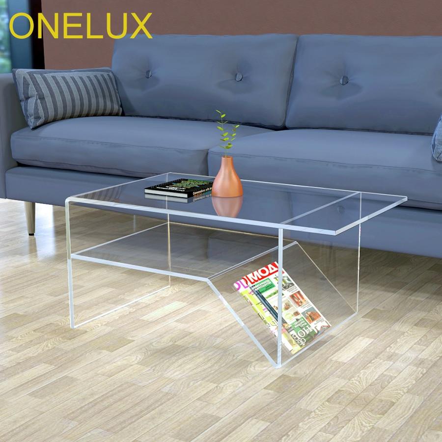 Waterfall Acrylic Coffee Table With Additional Shelf