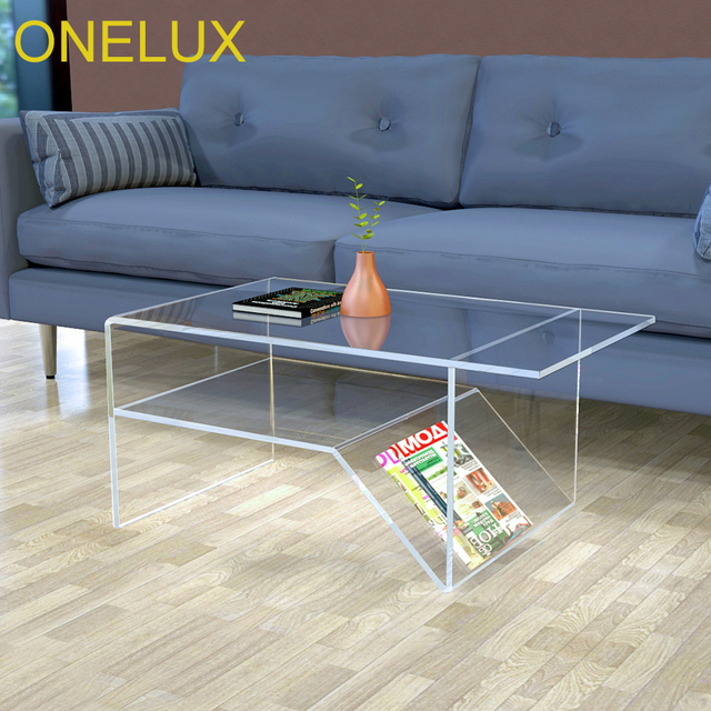 Waterfall Acrylic Coffee Table With Additional Shelf Lucite Living Room Tea Magazine Rack