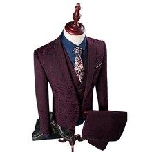 Plus Size 4XL Floral Printed Men Suits For Wedding 2016 Famous Brand Luxury Male Suits 3 Pieces Jacket+Vest+Pant