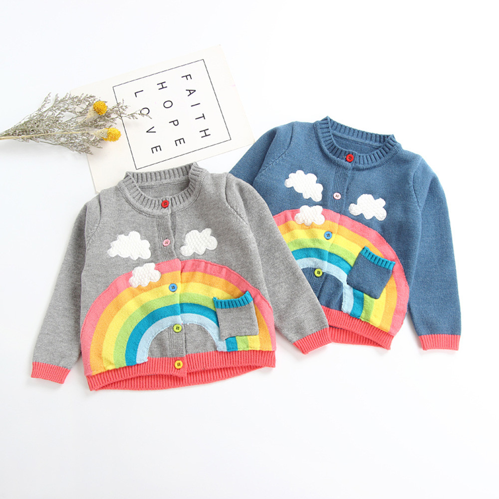 72241d02c MUQGEW Rainbow Pattern Child Girls Coats Toddler Infant Baby Boy Girl  Botton Warm Knitted Solid Tops